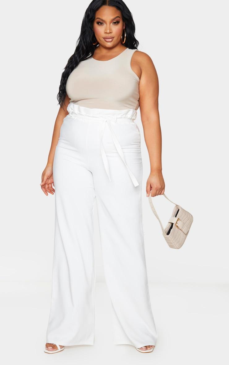 Plus White Tie Waist Wide Leg Trousers 1