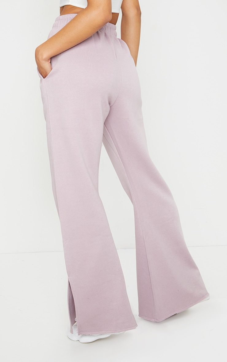 Dusty Lilac Draw String Waist Split Hem Flare Joggers 3