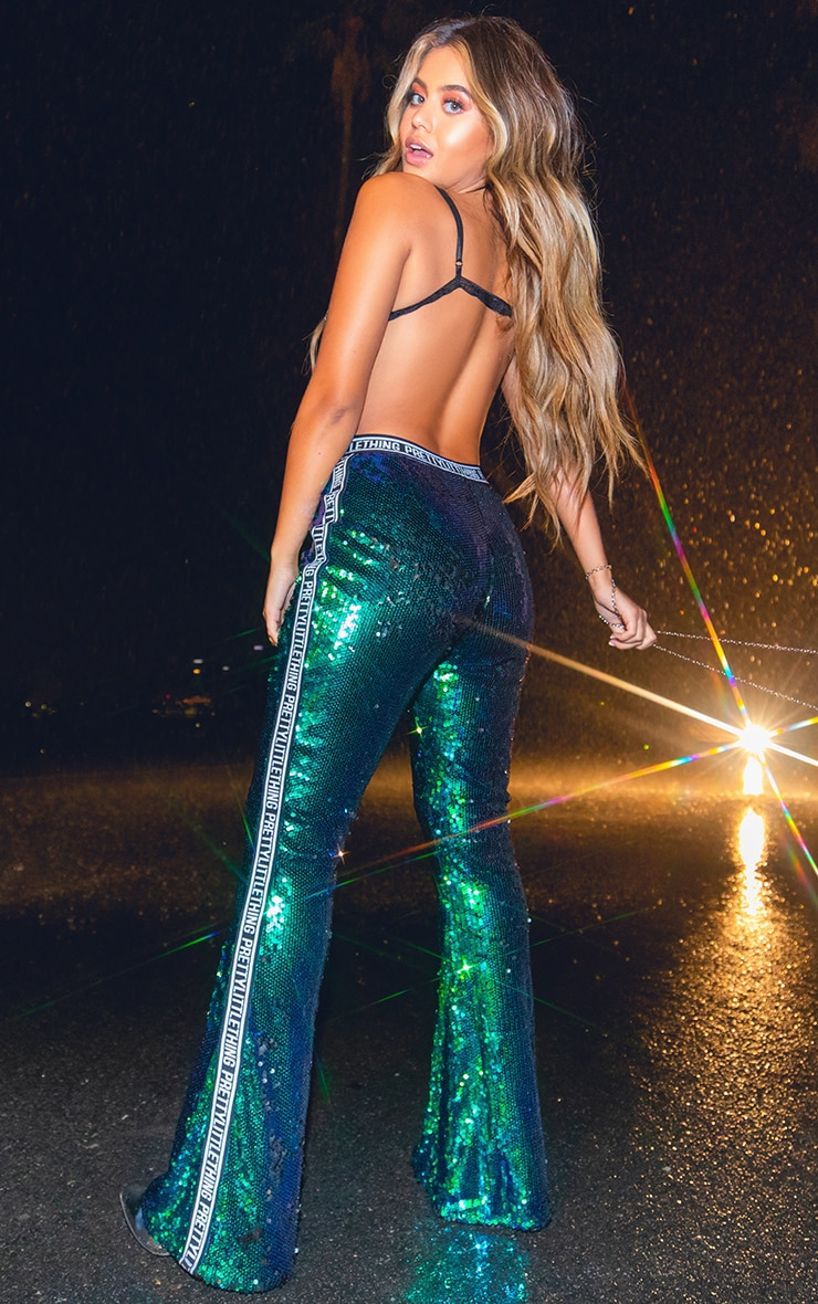 PRETTYLITTLETHING Green Sequin Side Tape Flared Pants 1