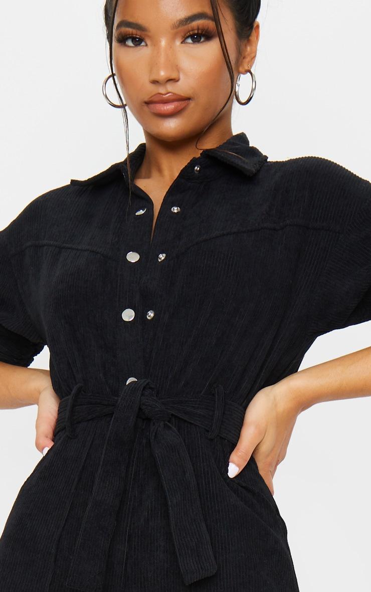 Black Button Front Short Sleeve Cord Jumpsuit 4