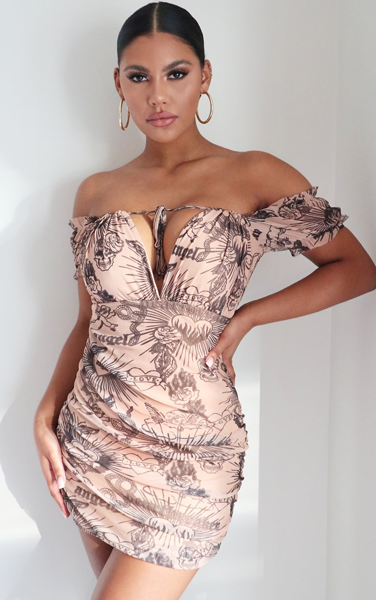 Nude Tattoo Print Ruched Side Bodycon Dress 1