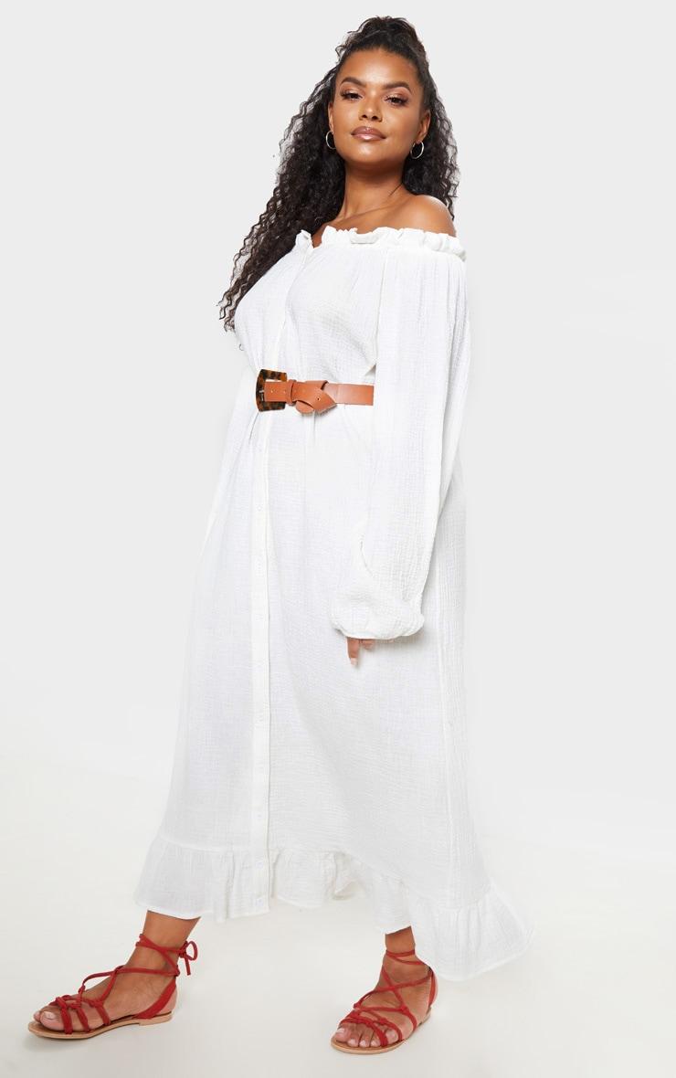 Plus White Bardot Frill Hem Maxi Dress 1
