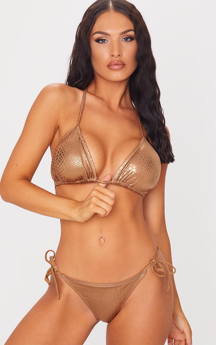Brown Metallic Snake Padded Triangle Bikini Top 1