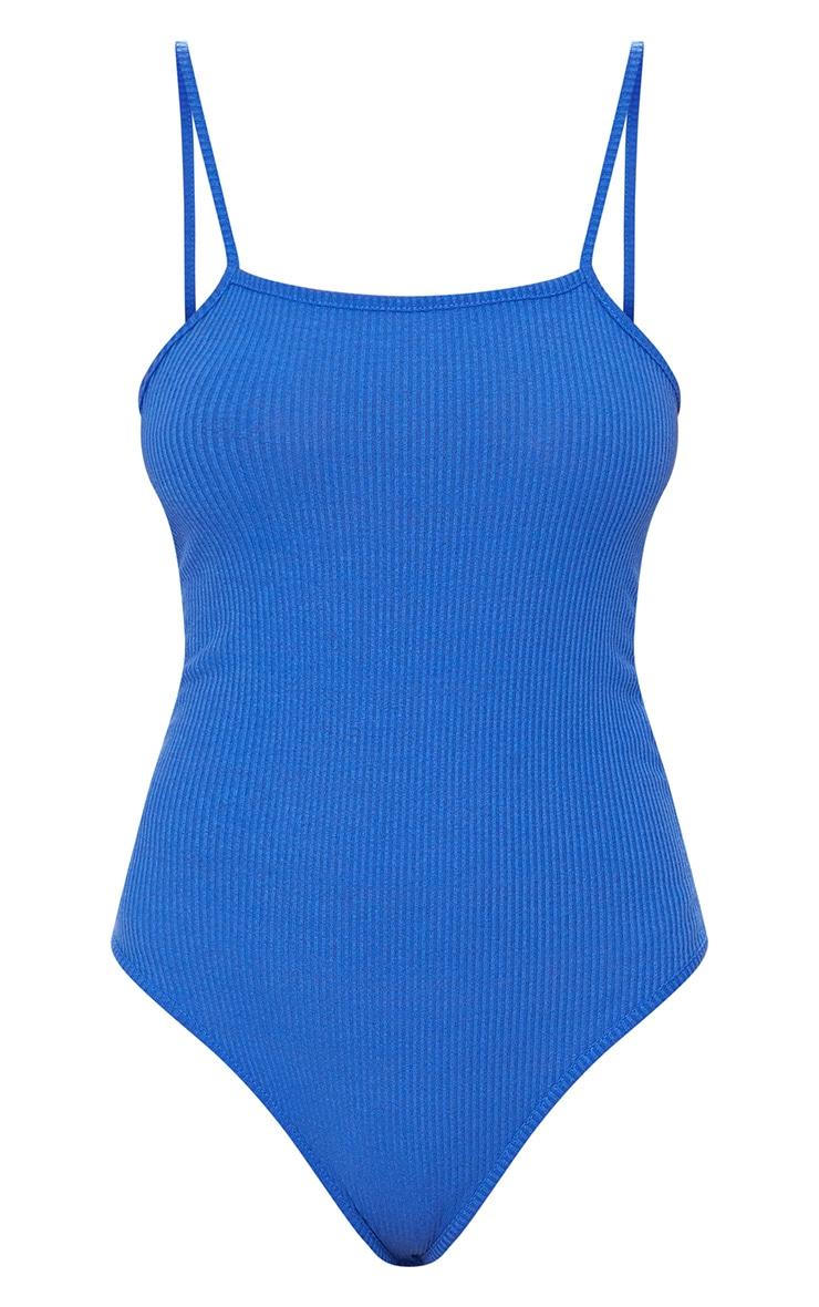 Cobalt Ribbed Square Neck Thong Bodysuit 3