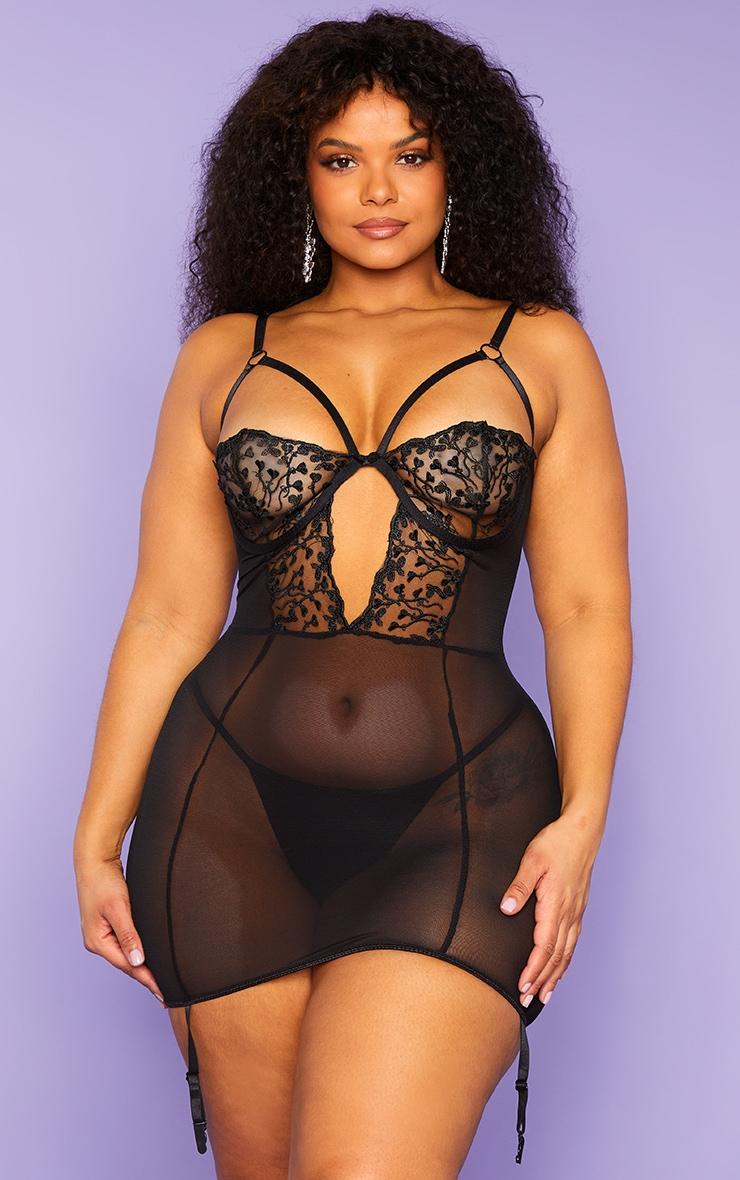 Plus Black Harness Strap Underwired Heart Lace Slip Dress 1