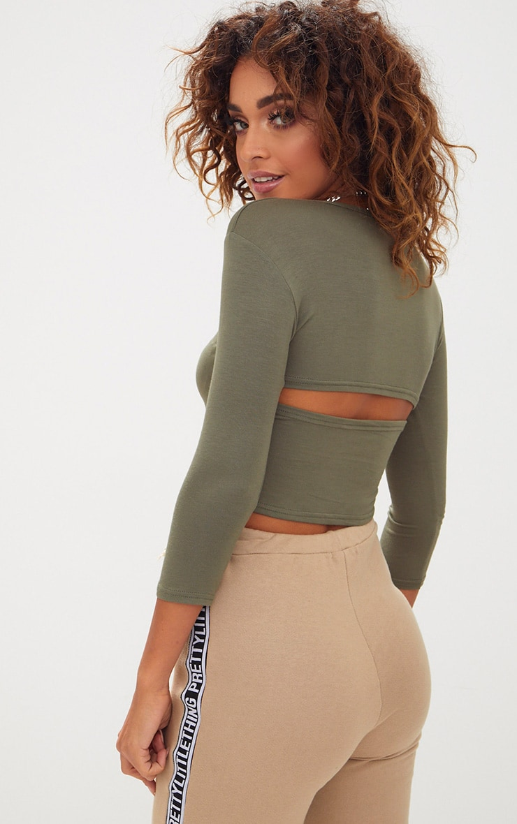 Khaki Basic Split Back Longsleeve Top 1