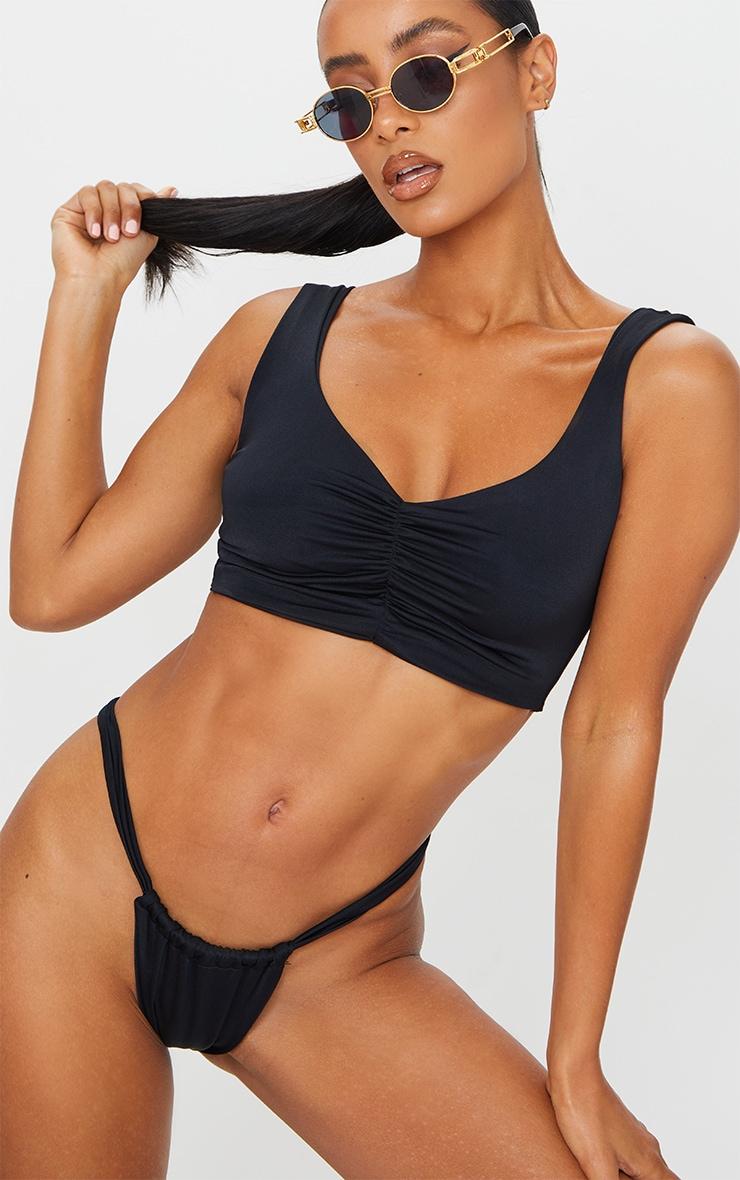Black Mix & Match Ruched Front Bikini Top 1