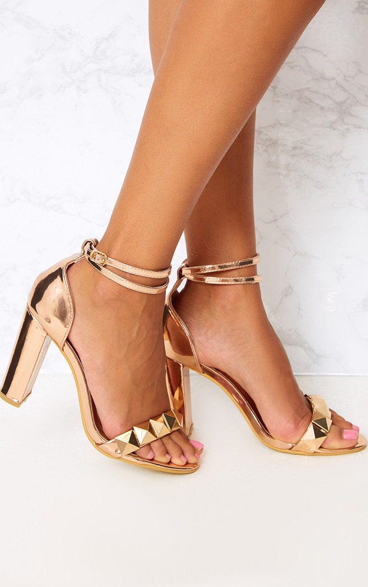 Rose Gold Pyramid Studded Block Heels 1