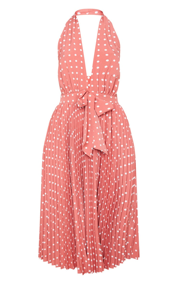 Dusty Pink Halterneck Pleated Midi Dress 6