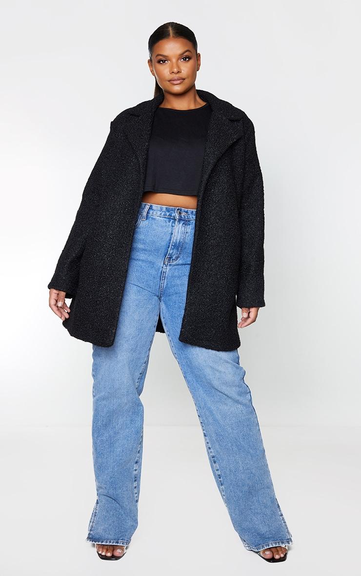 Plus Black Textured Longline Coat 3
