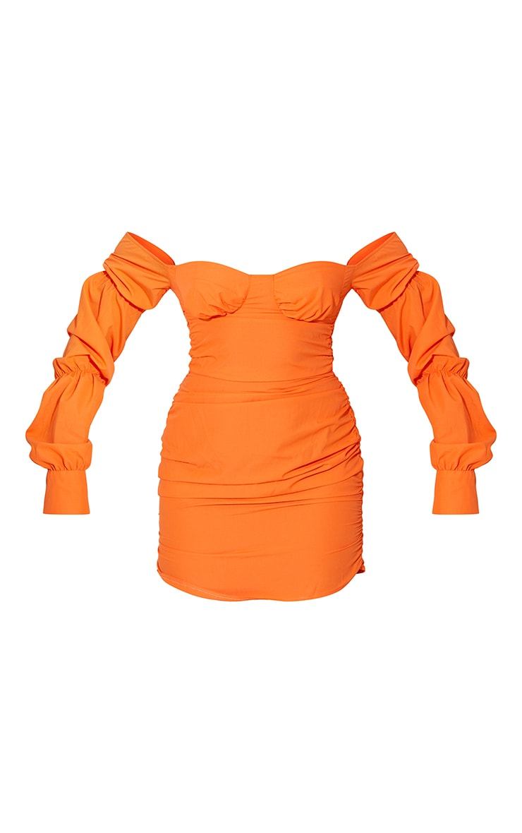 Orange Woven Bardot Tiered Sleeve Ruched Bodycon Dress 5