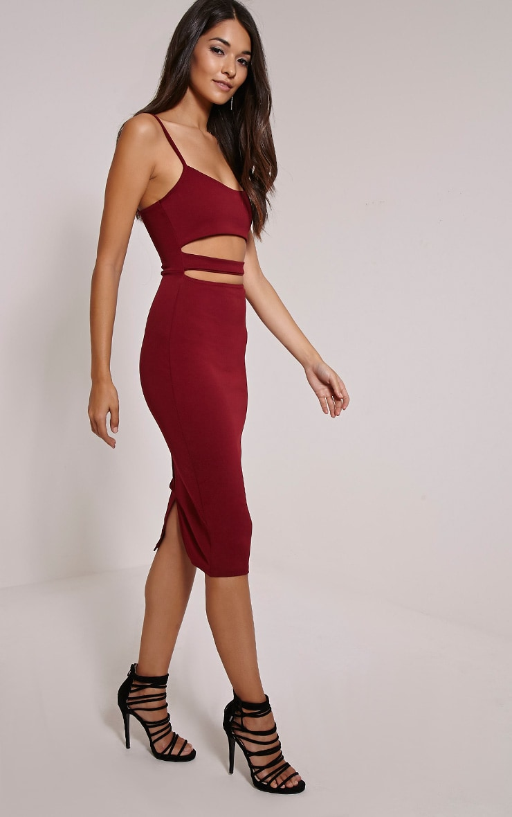 Kheelie Burgundy Cut Out Midi Dress 3