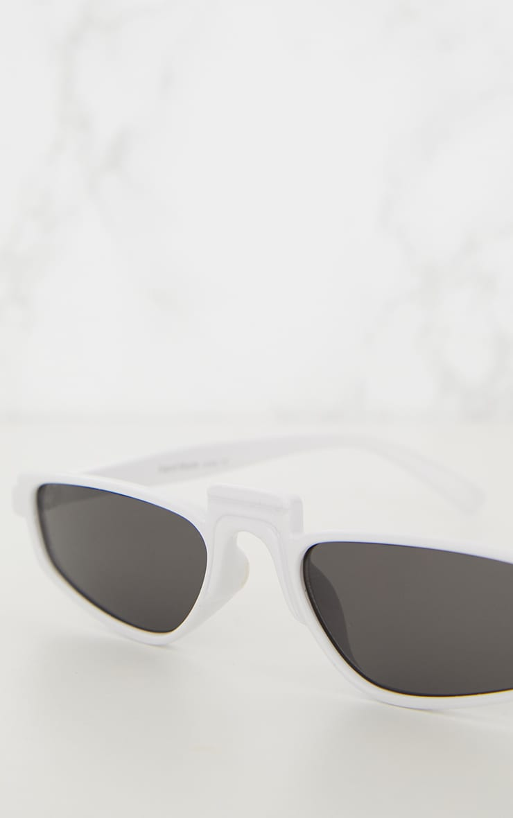 White Thin Retro Sunglasses 5