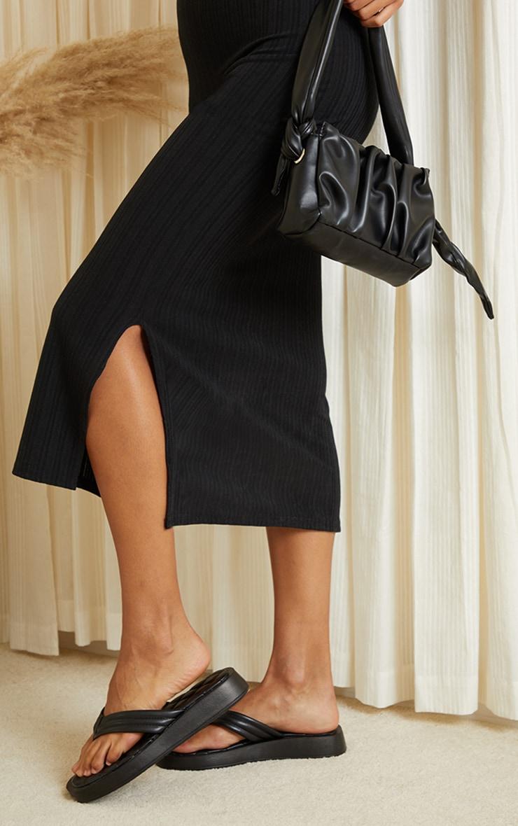 Black Knitted Rib Scoop Detail Split Midi Dress 4