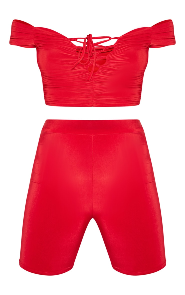 Red Bardot Slinky Lace Up Detail Crop Top 3