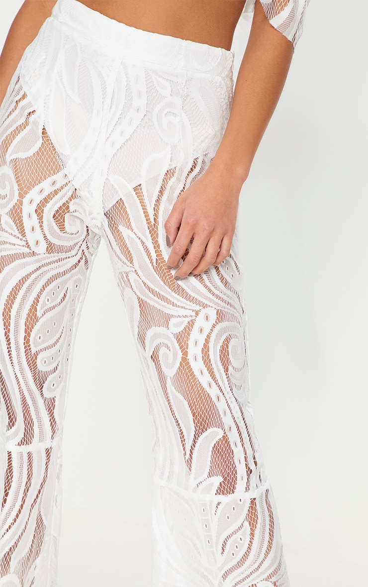 Petite White Lace Flared Pants 5