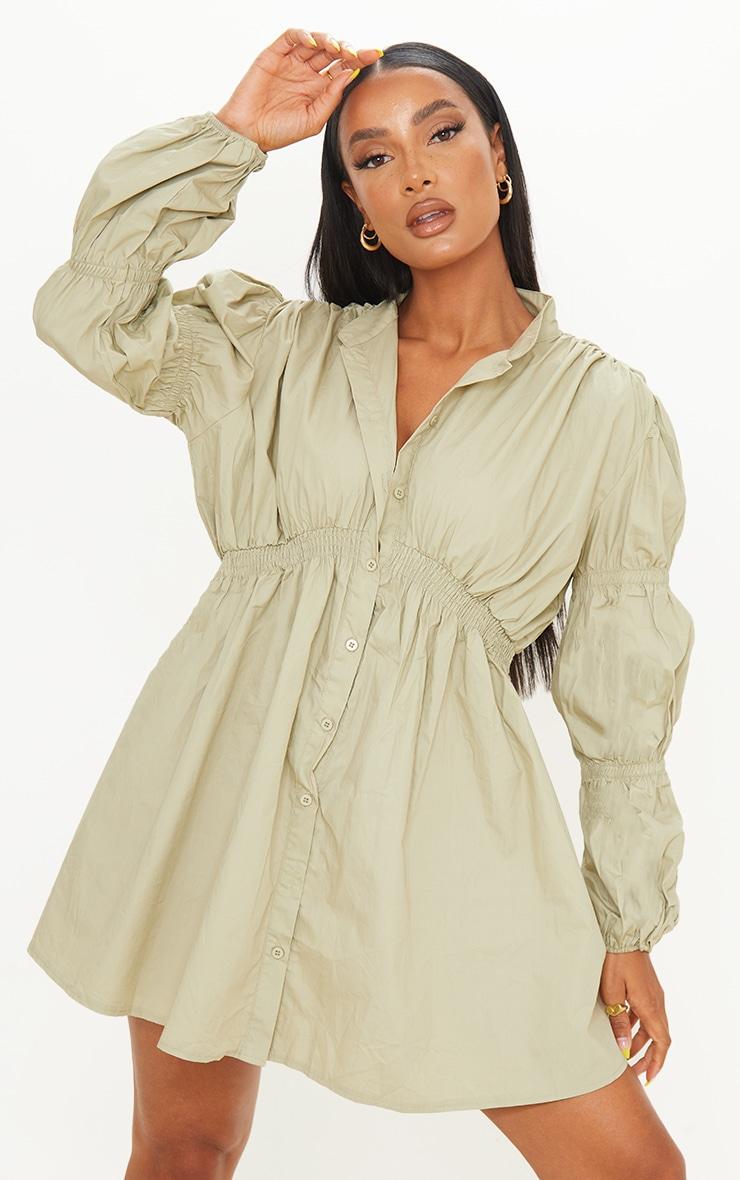 Sage Green Cotton Ruched Arm Detail Shirt Dress 1