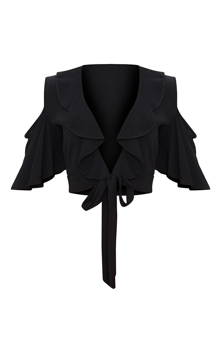 Black Chiffon Frill Detail Tie Front Crop Blouse 3
