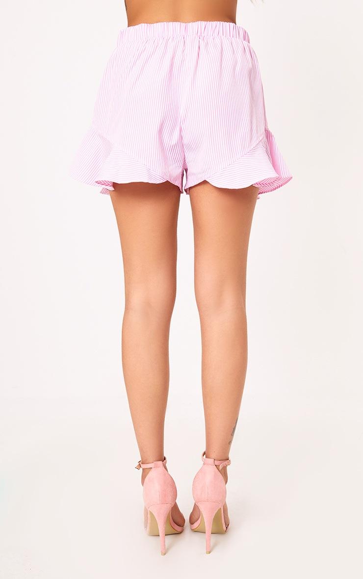 Charise Pink Pinstripe Frill Hem Shorts 4