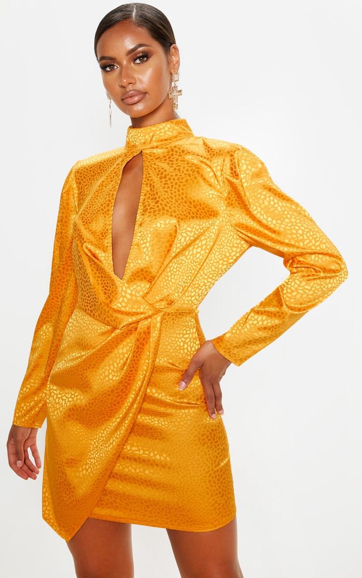 Mustard Satin Printed Keyhole Wrap Bodycon Dress 1