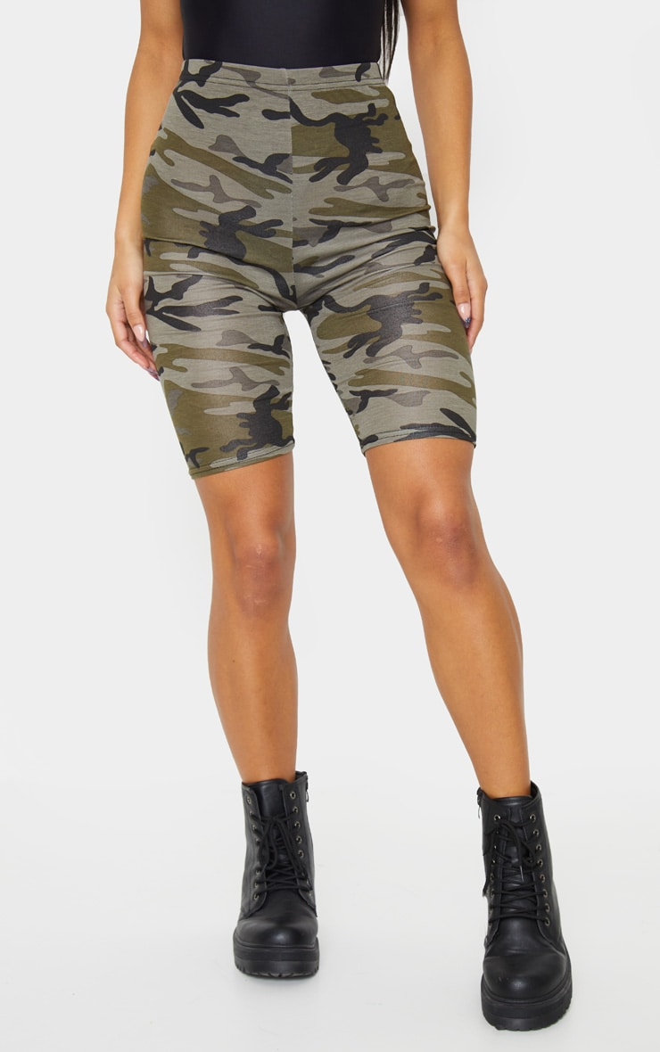 Khaki Camo Print Bike Shorts 2