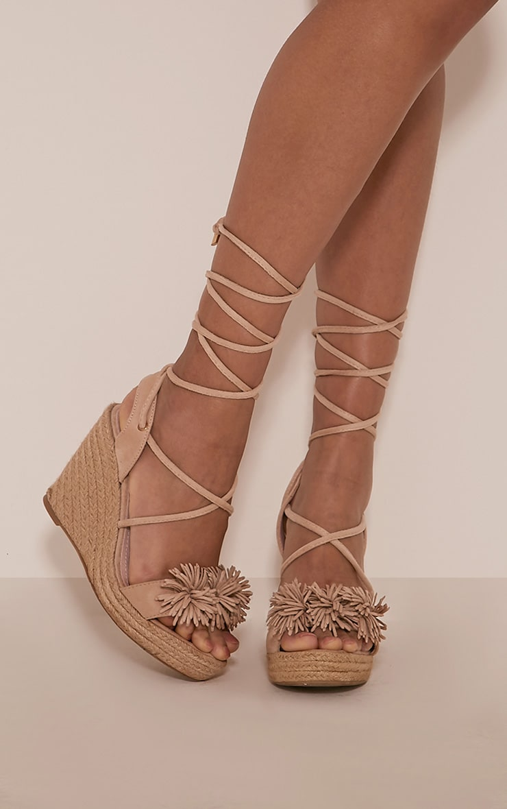 Tonni Nude Faux Suede Espadrille Wedges 1