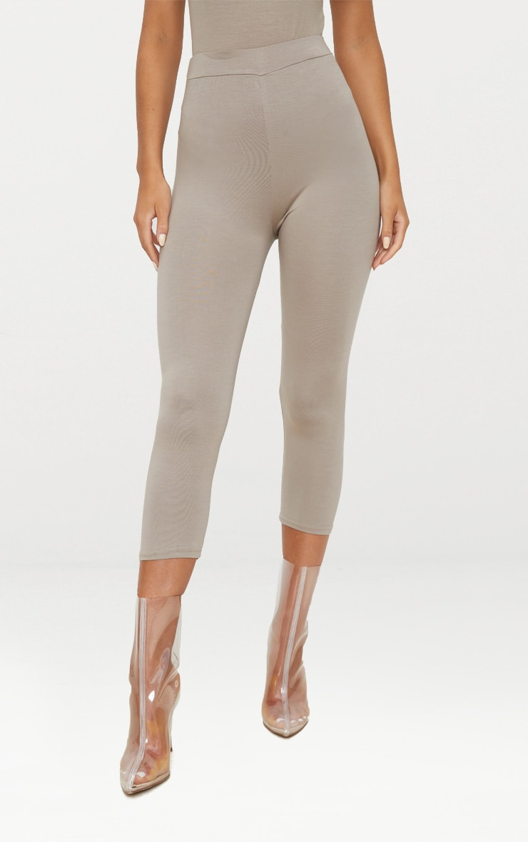Taupe Basic Cropped Jersey Leggings  2