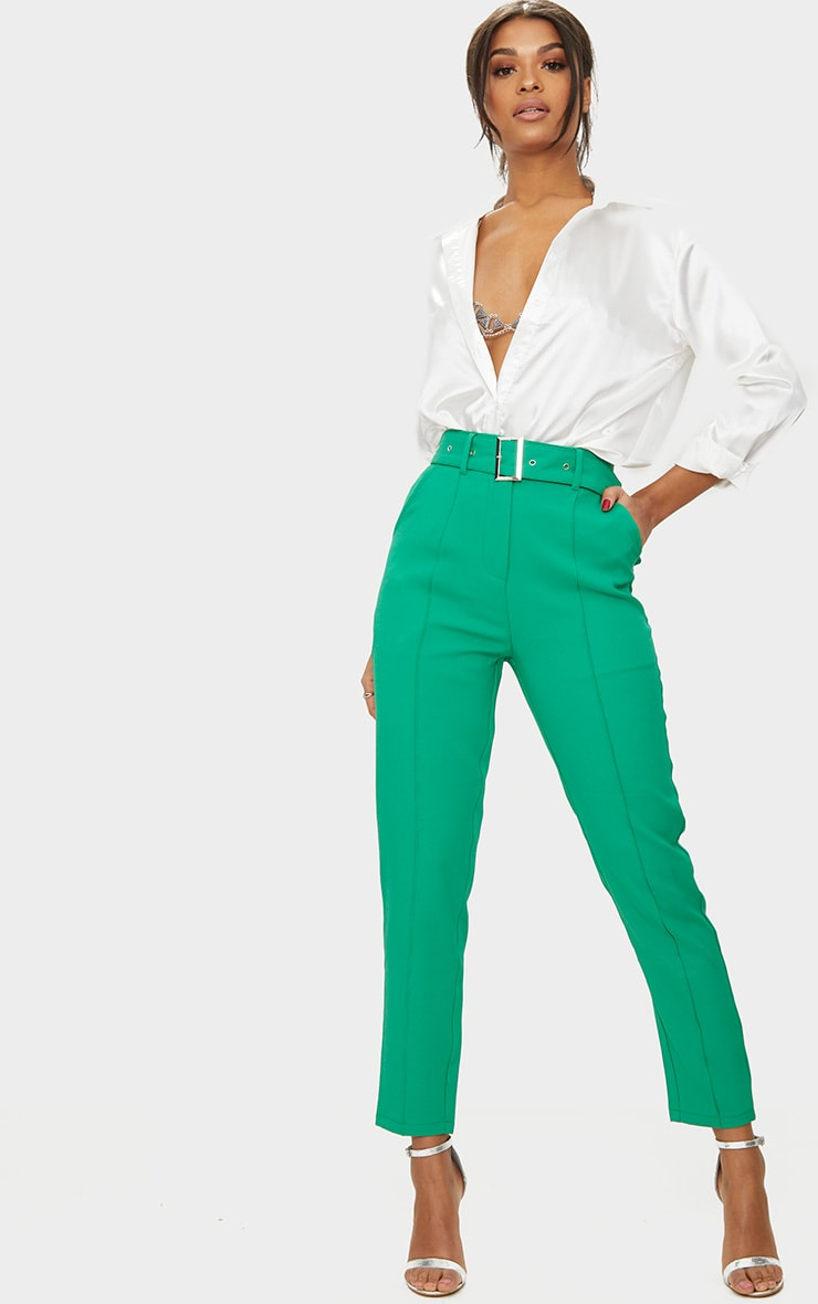 Bright Green Belted Tailored Trousers 1