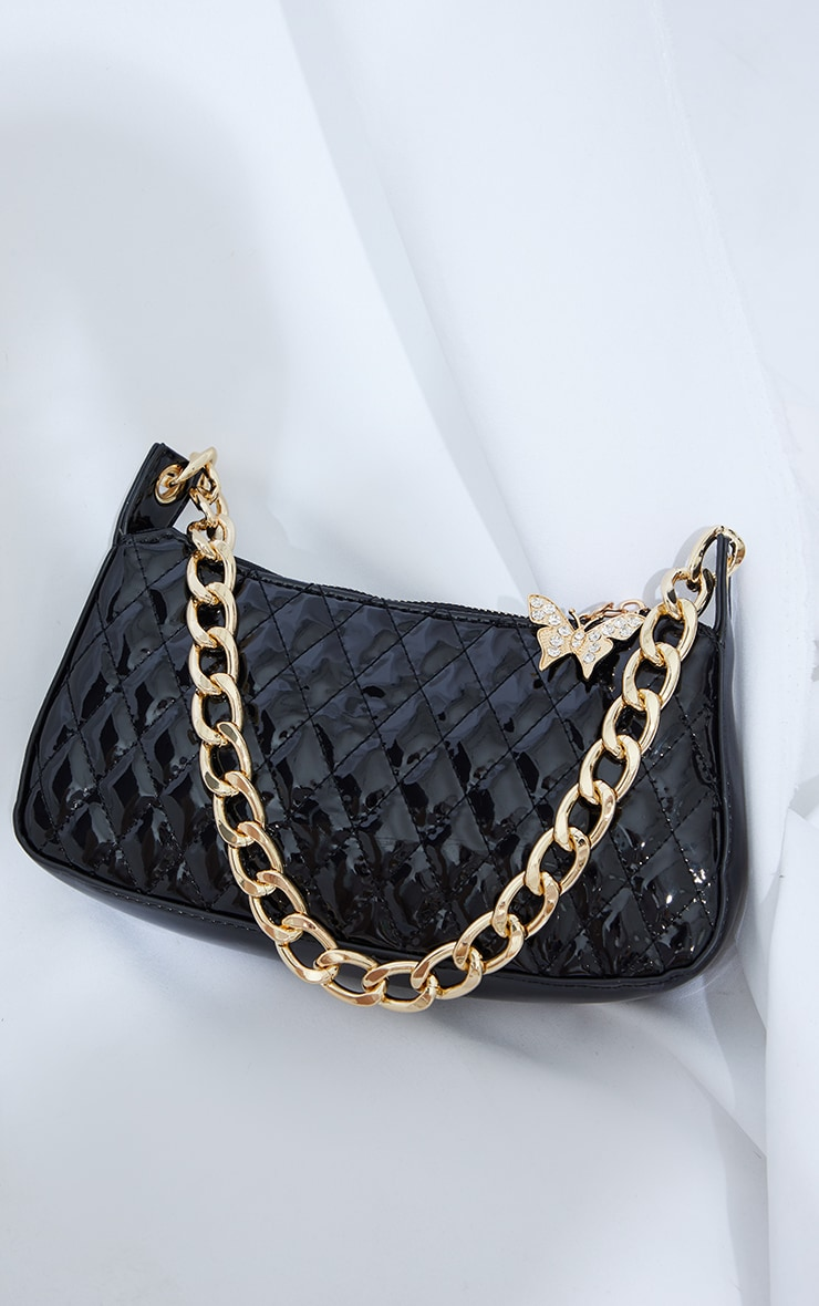 Black Quilted Gold Chain Diamante Butterfly Cross Body Bag 2