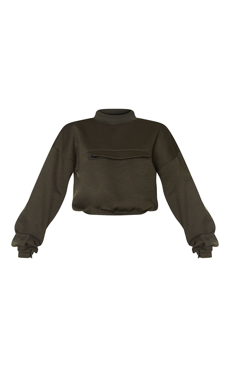 Khaki Funnel Neck Pocket Front Sweater 5