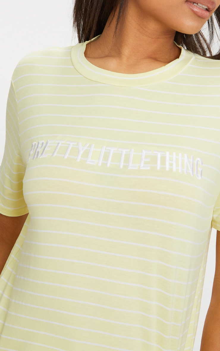 PRETTYLITTLETHING Lemon Embroidered Stripe T Shirt  5