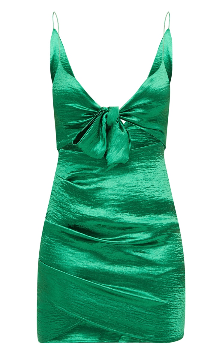 Emerald Green Satin Bow Front Ruched Bodycon Dress 3
