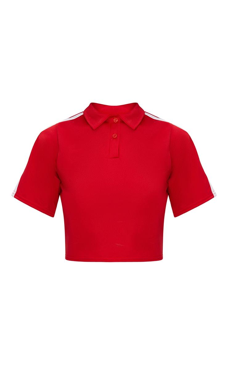 Red Button Front Sport Stripe Crop Top  3