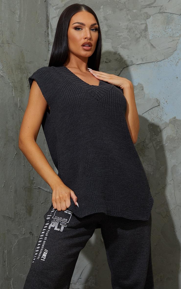 Charcoal V Neck Knitted Side Split Vest 1