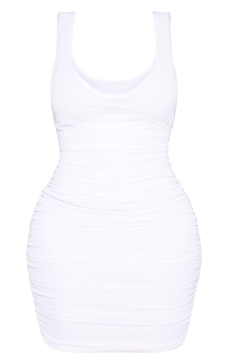 Shape White Mesh Cup Detail Bodycon Dress 3