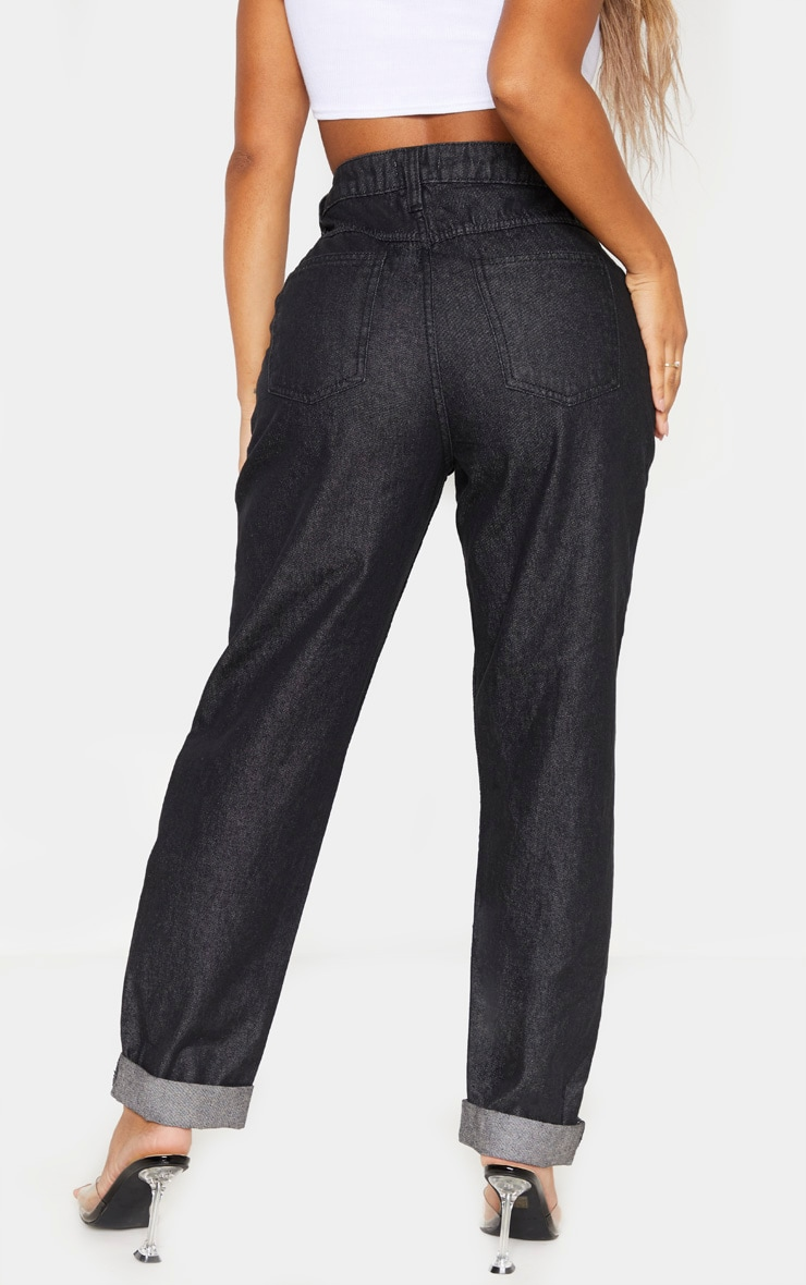 Shape Washed Black Mom Jeans 4