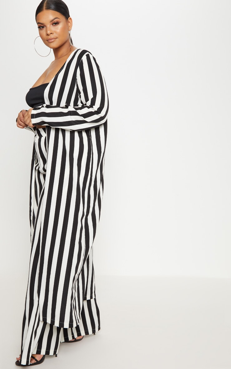 Plus Black Striped Longline Duster Jacket 4