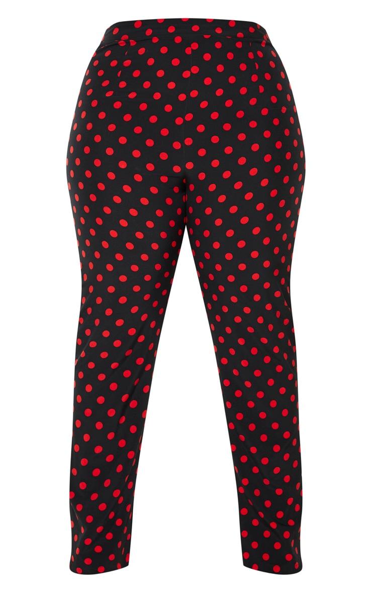 Plus Black  Polka Dot Straight Leg Pants 3