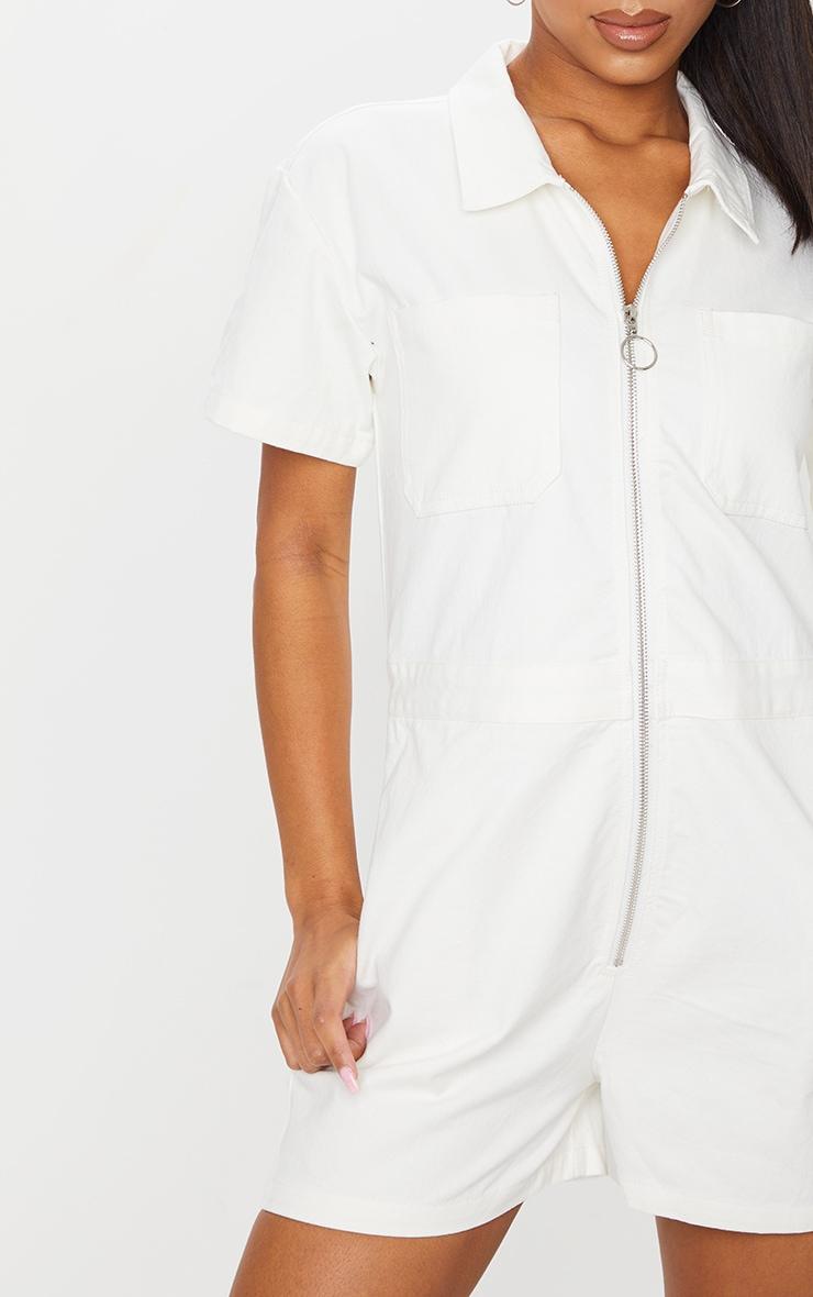 White Zip Up Pocket Short Denim Romper 3