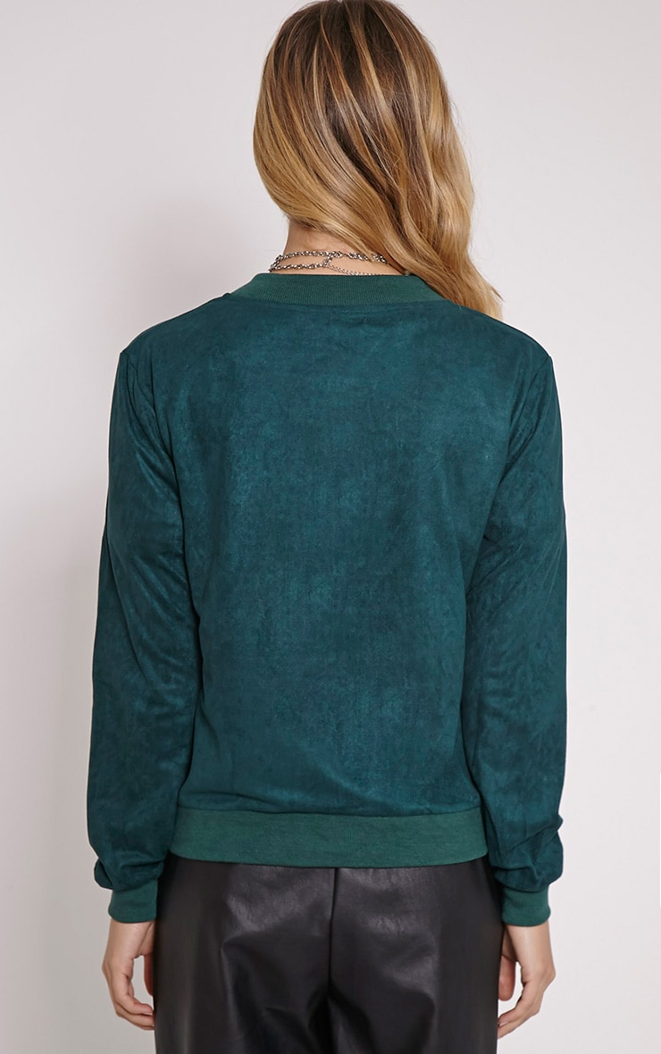 Riva Bottle Green Faux Suede Bomber Jacket 2