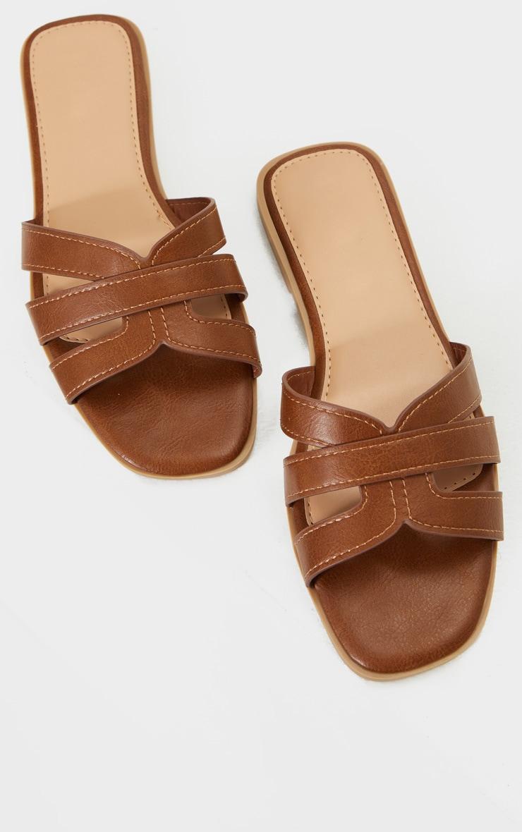 Tan Wide Fit Cross Strap Mule Flat Sandals 3