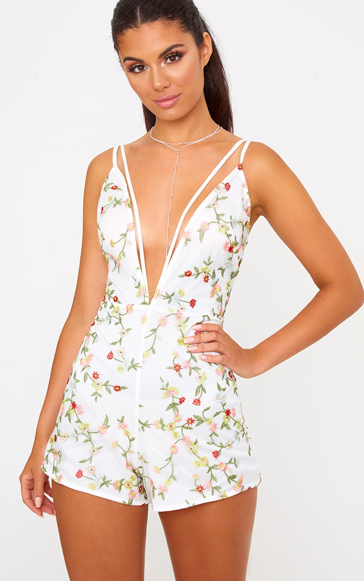 Katherina White Flower Print Harness Playsuit  1
