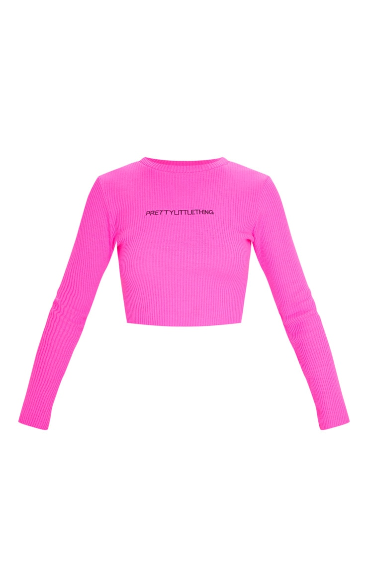 PRETTYLITTLETHING Hot Pink Ribbed Crop Jumper 3