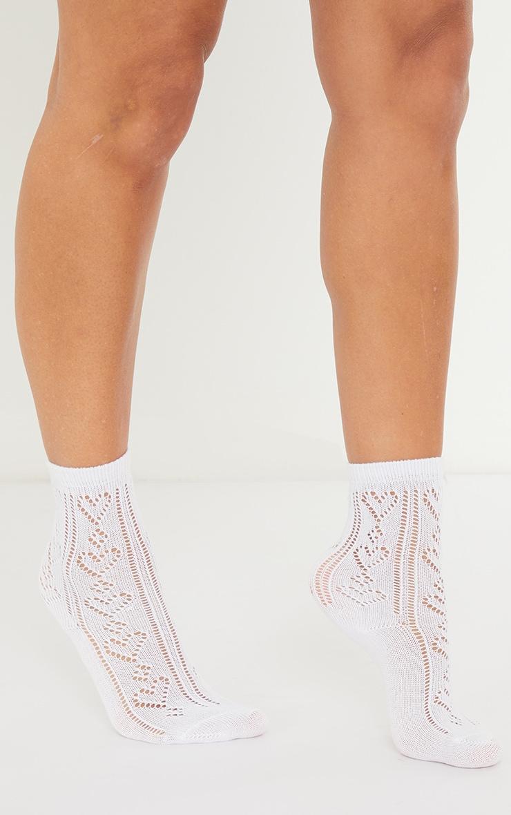 White Pointelle Heart Ankle Socks 1