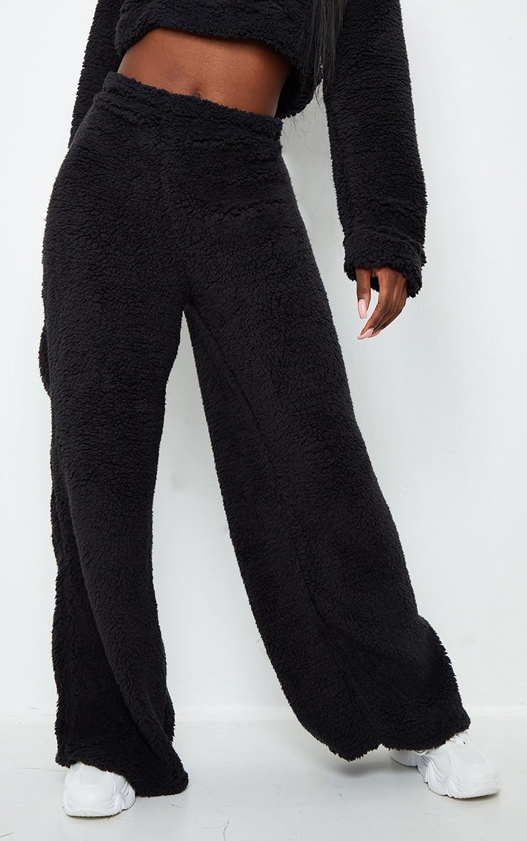 Tall Black Soft Borg Wide Leg Track Pants 5