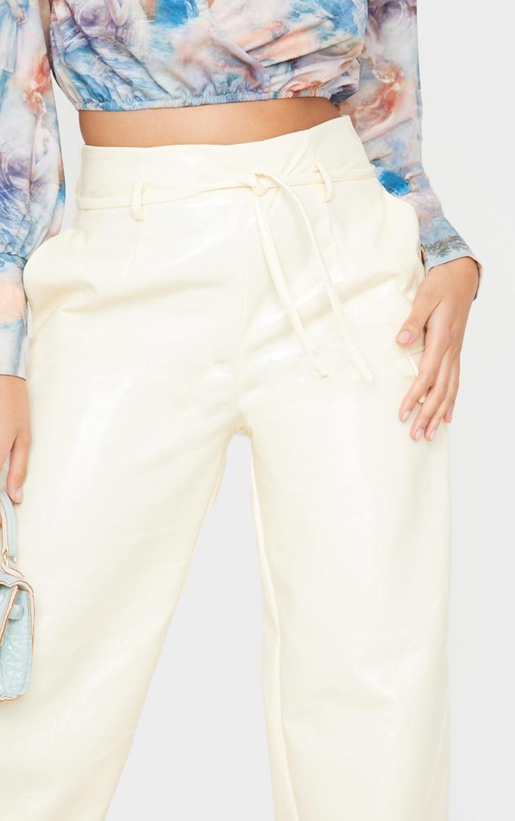 Ecru Cracked Faux Leather Pocket Detail Wide Leg Pants 5
