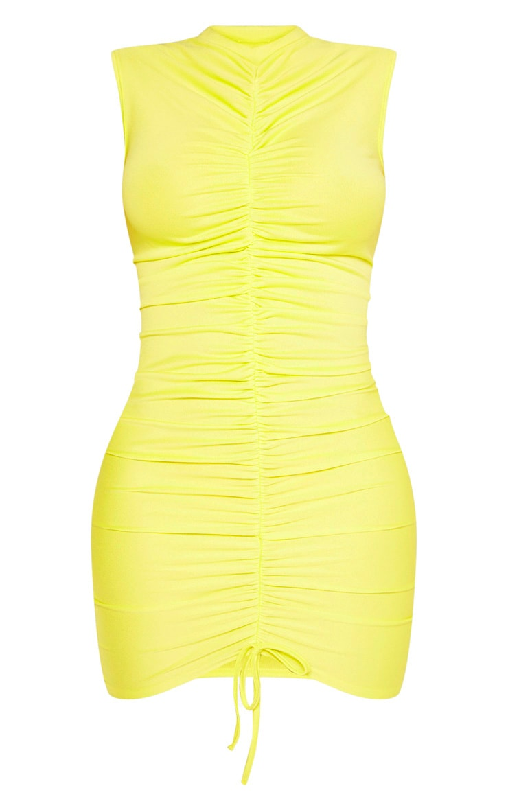 Shape Neon Lime High Neck Ruched Front Sleeveless Bodycon Dress 3