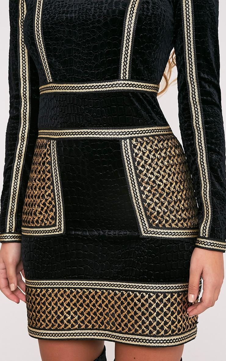 Asha Black Premium Velvet Panel Detail Bodycon Dress 7