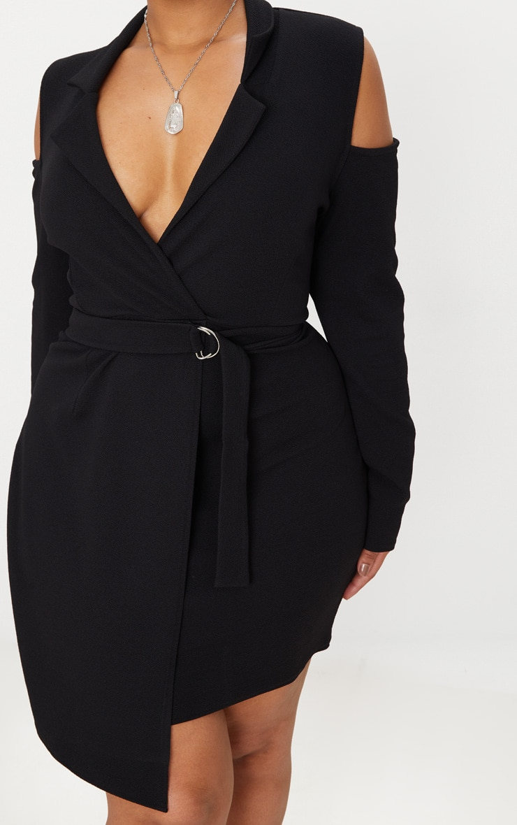 Plus Black Cold Shoulder Ring Detail Blazer Dress 5