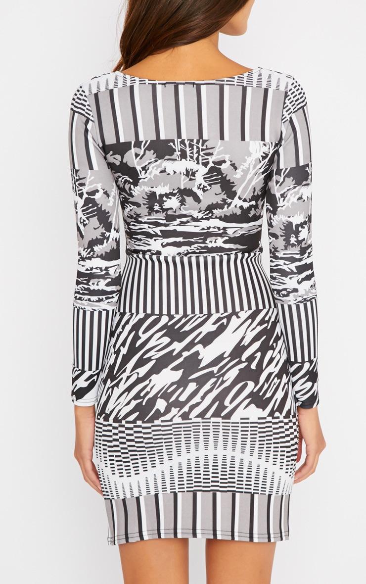 Olympia Monochrome Print Bodycon Dress 2